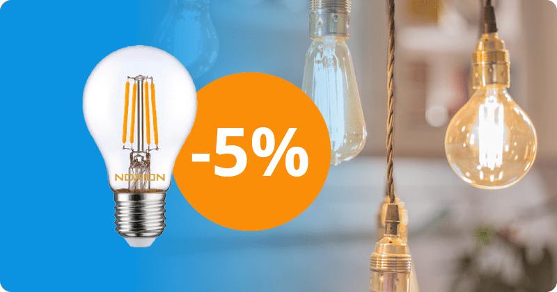 5 % sur les ampoules led filament